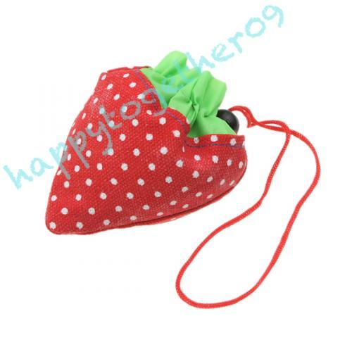 Platzsparende Einkaufstasche in Erdbeerform
