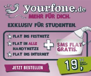 Yourfone Allnet-Flat Telefonie + SMS + 500MB Datenflat für Studenten nur 19,90€