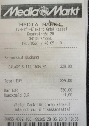 Samsung Galaxy S3 16GB im Media Markt Kassel für 329 Euro - Gültig für alle Farben