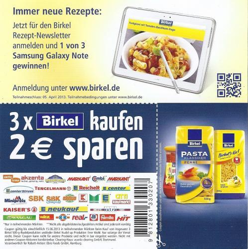 3 x Birkel No1 Nudeln (500g)  für 31 Cent (Kaufland Heidelberg)