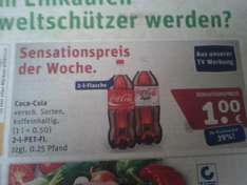 Coca-Cola und Coca-Cola light nur 0,50€/Liter bei Rewe!!!