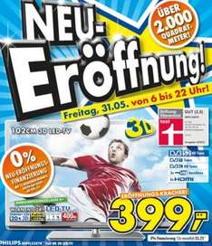 Neueröffnung EURONICS Ulm // Philips 40PFL5507K 399€ / iPhone 4 8GB 299€ / LG E2242T 79€ / ....