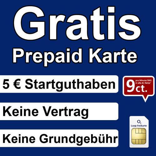 GRATIS | KOSTENLOS: o2 Loop Prepaid Karte mit 5 Guthaben Handy Prepaidkarte