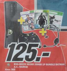 Xbox 360 250GB + Fifa 13, Darksiders 2,  Batman Arkham City + Headset für 125€ im Media Markt Landsberg am Lech