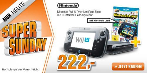 Nintendo Wii U 32 GB, schwarz inkl. Nintendo Land für 222€ @Saturn