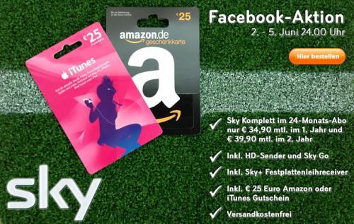 Sky Komplett im 2 Jahres Abo mit 25 Euro Amazon Gutschein