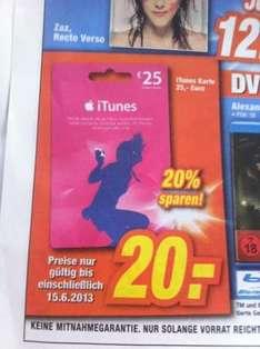 [Expert Technikmarkt] iTunes 25 € für 20 €