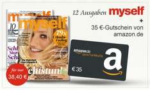 myself - Jahresabo für effektiv 0€ Dank 35€ Amazon Gutschein und 3,40€ Cashback
