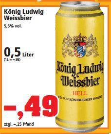 0,5 L König Ludwig Weissbier Dose für 49 Cents bei Thomas Philipps