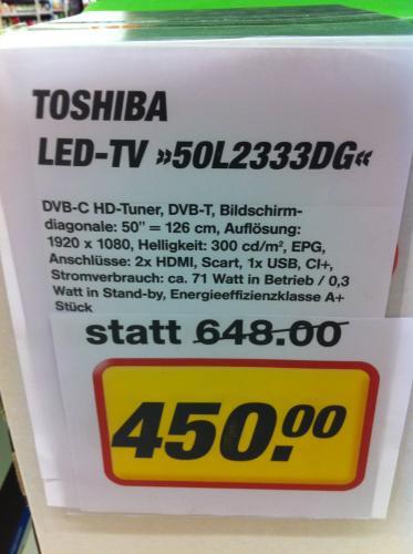 "[LOKAL HH?] TOSHIBA ""50L2333DG"" LED-TV (Full-HD/2xHDMI/USB/CI+ Slot) für 450€ bei TOOM im Tondo"