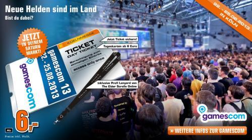Gamescom 2013 Tickets für 6€