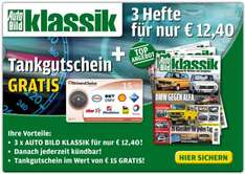 3x Autobild Klassik für 12,40 €, mit Tankgutschein 3,60 € Gewinn