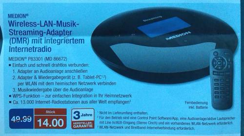[lokal Aldi Dortmund-Höchsten] Wlan-Streaming Adapter MD86672 für 14 Euro