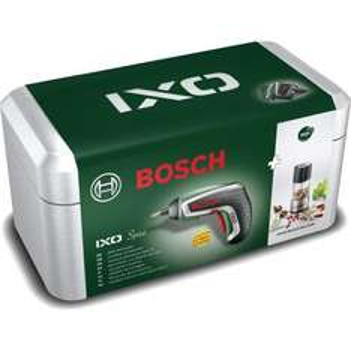 Bosch™ - Akku Schrauber IXO IV Upgrade (3,6V/4,5Nm/1,5Ah) + Gewürzmühlenaufsatz ab €39,56 [@Cyberport.de]