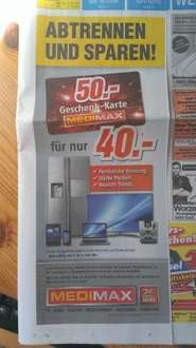 [Lokal MediMax Kiel] 50 Euro Geschenkkarte für 40 Euro