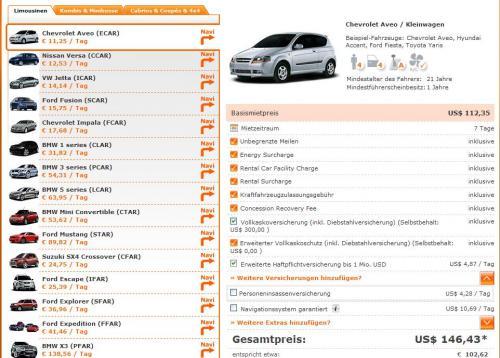 Mietwagen USA bei Sixt ab 78€/Woche