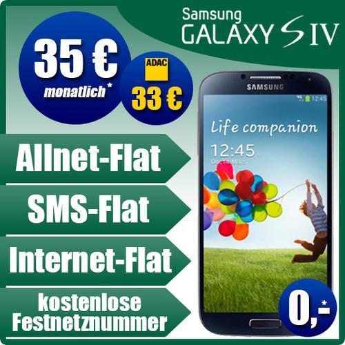 Samsung Galaxy S4 I9505 ohne Zuzahlung + BASE all-in Tarif für 35€ im Monat (ADAC-Mitglieder 33€)