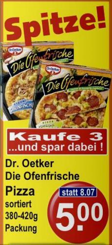 Die Ofenfrische Tiefkühlpizza - 3 Stück für 5€ statt 8,07€ bei K+K