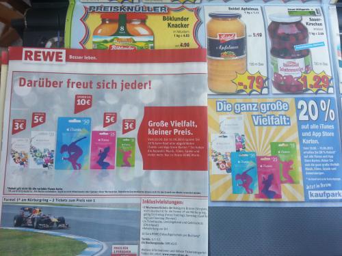 REWE & Kaufpark 20% auf iTunes- und App Store Karten [50€ für 40€, 25€ für 20€ und 15€ für 12€]