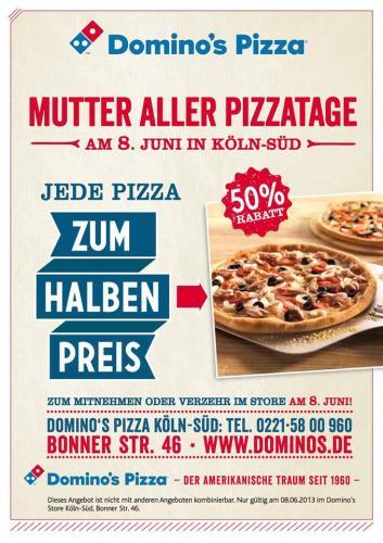 LOKAL: Pizza zum halben Preis: Düsseldorf City und Köln Süd