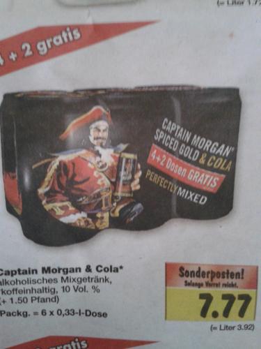 Captain Morgan & Cola 6 Dosen á 0,33 Liter für 7, 77 Euro! Kaufland Bundesweit?