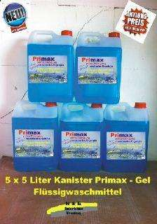 5 x 5 Liter Kanister Primax Flüssigwaschmittel Waschpulver Powergel
