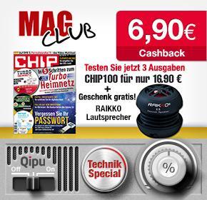 [Qipu] Chip100 Probeabo mit RAIKKO® Vacuum Speaker für 16,90 und 6,90€ Cashback