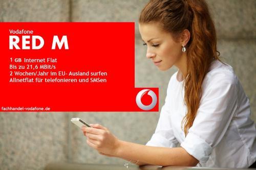 TOP AKTION Vodafone Red M Allnet Flatrate + Internet 3000 Sms Allnet  JUNGE LEUTE Rabatt + 50€ STARTGUTHABEN für NUR 14,99€