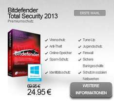 Bitdefender Total Security 2013 | 3 PC's | 24,95 € --> 65% Rabatt!