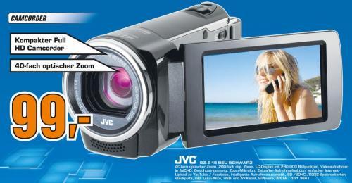 "JVC™ - Camcorder ""Everio GZ-E15"" (FullHD, 40xopt. Zoom,HDMI) für €99.- [@Saturn Kiel]"