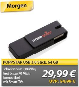 POPPSTAR USB 3.0 Stick, 64 GB wieder bei MeinPaket für 29,99 Euro (nur heute)