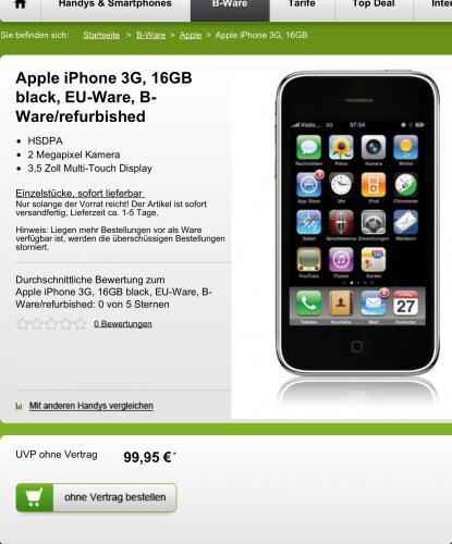 Apple iPhone 3G, 16GB black, B-Ware/refurbished