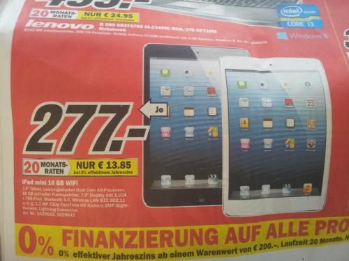 [Lokal] Ipad Mini 16 GB Wifi in Schwarz/Weiß für 277,00 € @MediaMarkt Mülheim