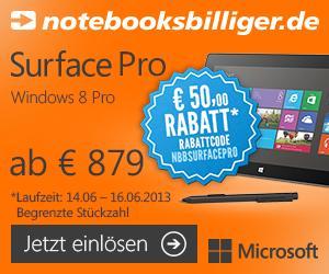 50 Euro Rabatt auf alle Microsoft Surface Pro & 30 Euro Rabatt auf alle Surface RT