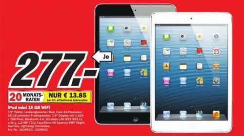 Media Markt Mülheim a.d. Ruhr iPad Mini 16GB Wifi für 277 €