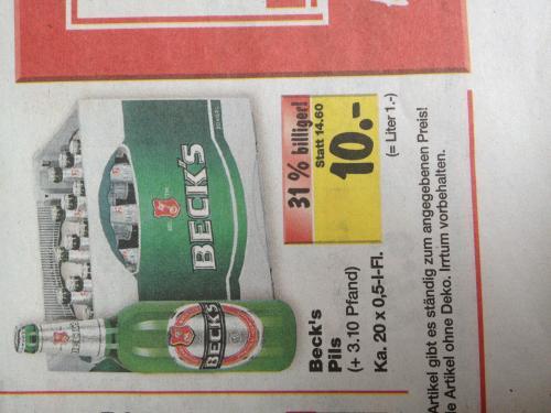 Becks Pils 20x0,5l Kiste 10€ Kaufland [LOKAL]Worms