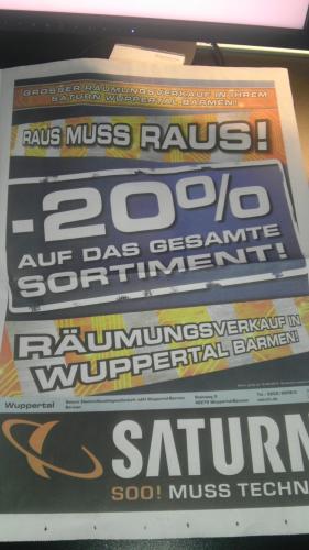 Saturn Wuppertal Barmen :  20% Rabatt auf alles