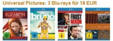 Amazon - Universal Pictures: 3 Blu-rays für 18 EUR