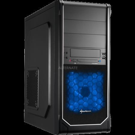 Sharkoon VS3-S chrome (120mm Lüfter blau, schwarz/schwarz, günstigstes ATX-Gehäuse) @ZackZack