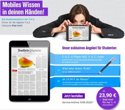 [Studenten] FAZ E-Paper Abo inkl. iPad Mini