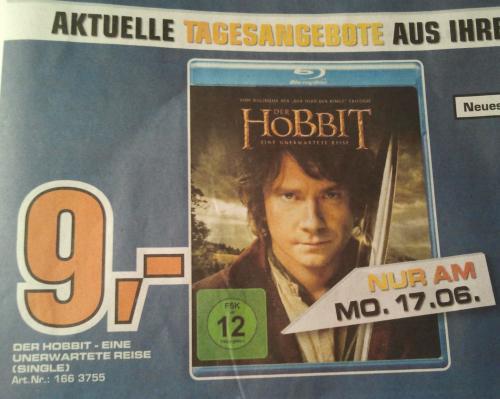 [Lokal] Der Hobbit Blu-ray (2D) inkl. Digitalkopie für 9 Euro im Saturn Heidelberg