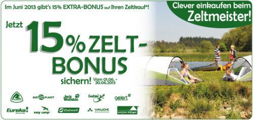 15% Bonus auf Zelte- und Zeltzubehör