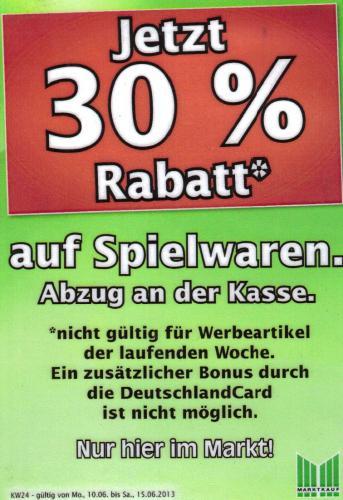[Lokal Nürnberg] 30% Rabatt auf Spielwaren im Marktkauf Kölner Straße