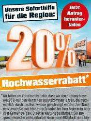 Obi 20% Rabatt für Hochwassergeschädigte