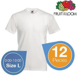 Fruit of the Loom 12 weiße Baumwoll-T-Shirts - Größe L 12 Stück