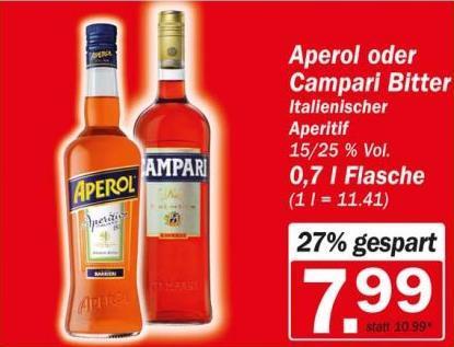Aperol oder Campari für 7,99€ pro 0,7l Flasche bei HIT