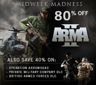 Steam Midweek Madness ARMA II (80 % günstiger)