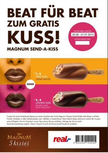 GRATIS EIS - Magnum 5 kisses Crème Brûlée oder Baiser und Rote Früchte bei real,-