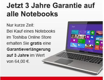 Toshiba Online Store: Aktuell 3 Jahre Garantie auf alle Notebooks
