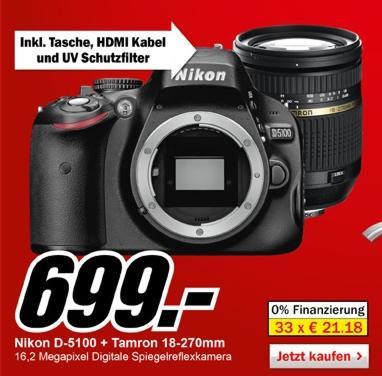 NIKON D5100 + AF 18-270mm Objektiv + Tasche + HDMI Kabel + UV Schutzfilter für 699,00
